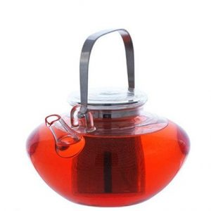 GROSCHE TUSCANY Tea Infuser Pot fron view with tea