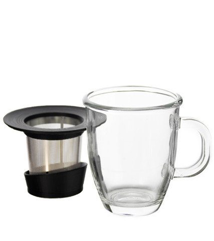 GROSCHE ASPEN Glass Tea Mug With Stainless Steel Infuser