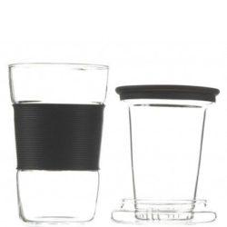 GROSCHE INFUZ Tea Mug With Glass Infuser in Black