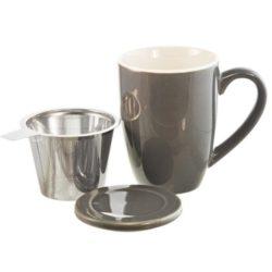 GROSCHE KASSELceramic Tea infuser Mug With Stainless Steel Infuser in Grey