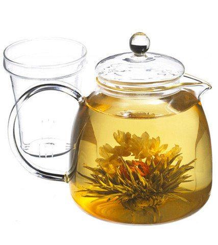 glass teapot with blooming tea grosche munich