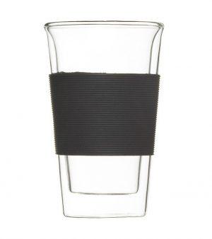 glass travel mug GROSCHE GLASSEN Coffee and tea tumbler black