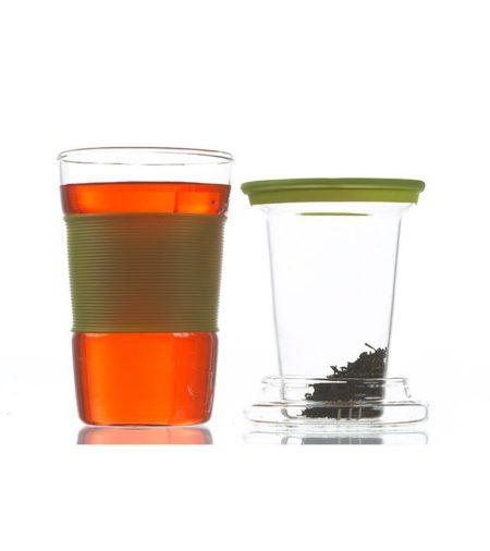 GROSCHE INFUZ Tea Mug With Glass Infuser in Green